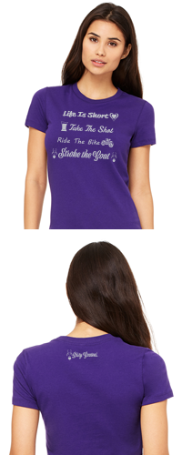 Dirty Goatees Life Is Short Crew Neck T-Shirt on Purple